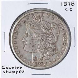 1878-CC $1 Morgan Silver Dollar Coin w/ Counter Stamp