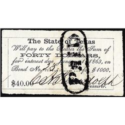 1863 $40 State of Texas Bond Coupon Obsolete Note
