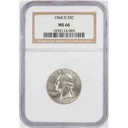 1964-D Washington Quarter Coin NGC MS66