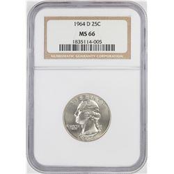 1964-D Washington Quarter Coin NGC MS66