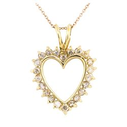 14KT Yellow Gold 1.00 ctw Diamond Heart Shaped Pendant with 14KT Rose Gold Chain