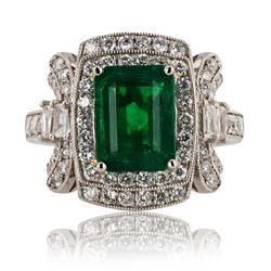 3.17 ctw Emerald and 1.03 ctw Diamond Platinum Ring