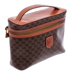 Celine Brown Monogram Coated Canvas Leather Cosmetic Vanity Bag