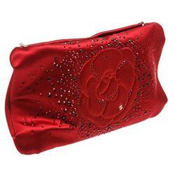 Chanel Red Satin Embellished Camellia Clutch Shoulder Bag