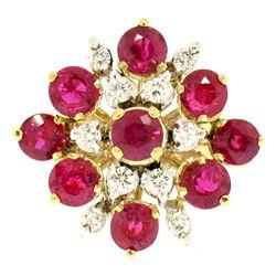 Designer 14k Two Tone Gold 2.60 ctw Vivid Blood Ruby & Diamond Cocktail Ring