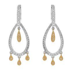 14k Two Tone Gold 0.50CTW Diamond Earrings, (I1-I2/H)