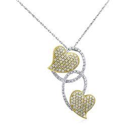 18k Two Tone Gold 0.80CTW Diamond Pendant, (SI1-SI2/G-H)