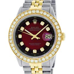 Rolex Mens 2 Tone 18K Red Vignette 2.5 ctw Diamond Datejust Wristwatch With Role