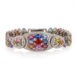 21.95 ctw Multi-Color Sapphire and 2.88 Diamond 14K White Golod Bracelet