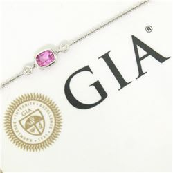 New 18kt White Gold 0.96 ctw GIA Pink Sapphire and Diamond Pendant Necklace