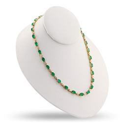 20.56 ctw Emerald and 1.50 ctw Diamond 14K Yellow Gold Necklace