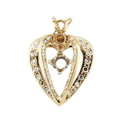 1.00 ctw Diamond Semi-Mount Heart Shaped Pendant - 14KT Yellow Gold