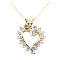 0.90 ctw Diamond Heart Pendant with Chain - 14KT Yellow Gold