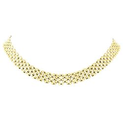 17.75 Inch Five Row Panther Link Chain - 18KT Yellow Gold