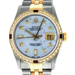 Rolex Mens 2 Tone 14K Mother Of Pearl Diamond & Ruby Datejust Wristwatch