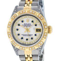 Rolex Ladies 2 Tone 18K MOP Sapphire String Diamond Lugs Datejust Wristwatch Wit