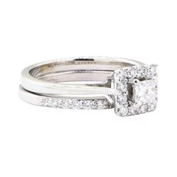 0.67 ctw Diamond Ring And Attached Band - 14KT White Gold