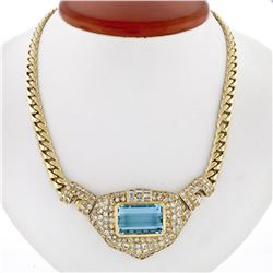 18K Gold 28.95 ctw GIA Bezel Aquamarine & Pave Diamond Chain Statement Necklace