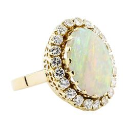 7.90 ctw Opal And Diamond Ring - 14KT Yellow Gold