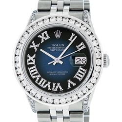Rolex Mens Stainless Steel Blue Vignette Roman Diamond Datejust Wristwatch With