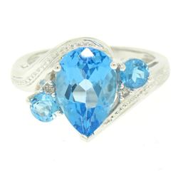 14k White Gold 4.33 ctw Pear & Round Swiss Blue Topaz Ring w/ 2 Diamond Accents