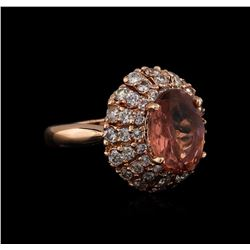 3.70 ctw Tourmaline and Diamond Ring - 14KT Rose Gold