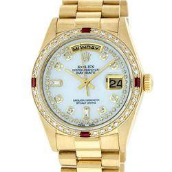 Rolex Mens 18K Yellow Gold MOP String Diamond & Ruby Quickset President Wristwat
