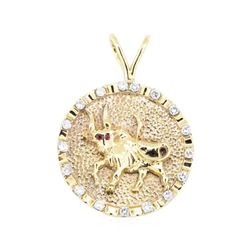 1.07 ctw Diamond And Ruby Pendant - 14KT Yellow Gold