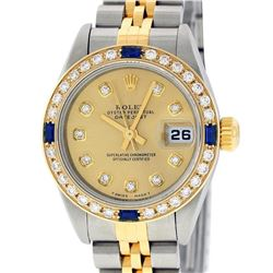 Rolex Ladies Quickset 2 Tone Champagne Diamond & Sapphire Datejust Wristwatch