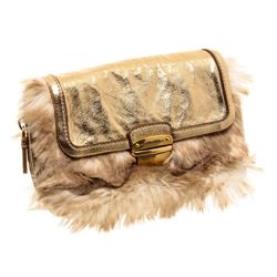 Prada Metallic Gold Faux Fur Leather Convertible Clutch Crossbody Bag