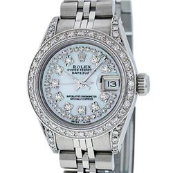 Rolex Ladies Stainless Steel 26MM MOP Diamond Lugs Datejust Wristwatch