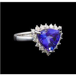 14KT White Gold 3.44 ctw Tanzanite and Diamond Ring