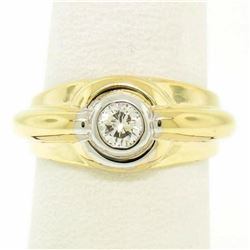 Men's 14kt Yellow and White Gold 0.40 ctw Bezel Round Diamond Solitaire Band Rin