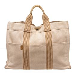 Hermes Beige Peach Canvas Sac Fourre MM Tote Bag