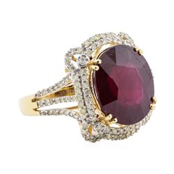 13.90 ctw Ruby and Diamond Ring - 14KT Yellow Gold