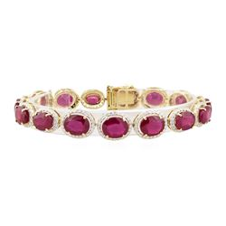 40.27 ctw Ruby and Diamond Bracelet - 14KT Yellow Gold