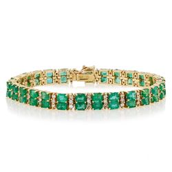 13.72 ctw Emerald and 1.79 ctw Diamond 14K Yellow Gold Bracelet