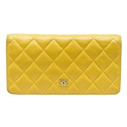 Chanel Yellow Quilted Leather Yen Wallet