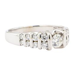 0.89 ctw Diamond Ring - 14KT Yellow Gold with Rhodium Plating