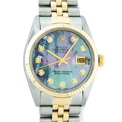 Rolex Mens 2 Tone 14K Tahitian MOP Diamond 36MM Datejust Wristwatch