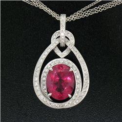 18kt White Gold 6.03 ctw GIA Rubellite Tourmaline and Diamond Pendant Necklace