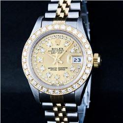 Rolex Ladies 2 Tone 18K Gold Bezel Champagne String Diamond Datejust Wriswatch