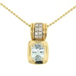 14K Yellow Gold 2.25 ctw Emerald Cut RICH Aquamarine and Diamond Pendant w/ 16""