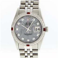 Rolex Mens Stainless Steel Meteorite Diamond And Ruby Datejust Wristwatch