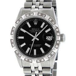 Rolex Mens Stainless Steel 36MM Black Index Pyramid Diamond Datejust Wristwatch