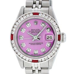 Rolex Ladies Stainless Steel Pink Diamond & Channel Ruby Datejust Wristwatch