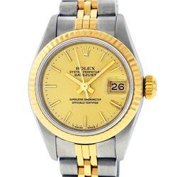 Rolex Ladies 2 Tone 14K Champagne Index Datejust Wristwatch