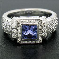New Platinum 2.37 ctw Tanzanite and Diamond Halo Ring