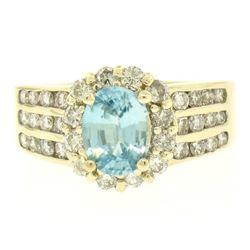 14kt Yellow Gold 2.35 ctw Aquamarine and Diamond Halo Ring