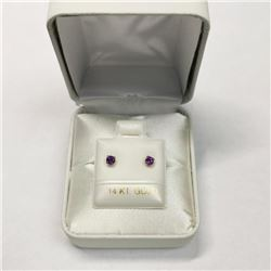 14K Yellow Gold Amethyst Screwback Earrings, Made in Canada, Suggested Retail Value $200